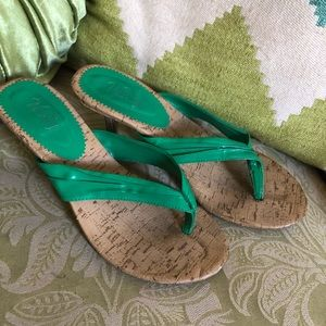 Green and Cork Strappy Heeled Sandals, size: 7